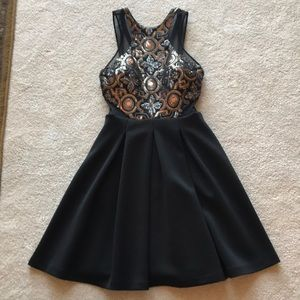 Faviana gold and black sequin dress